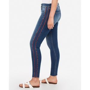 Express Ankle Legging Mid Rise Jeans Red Stripe